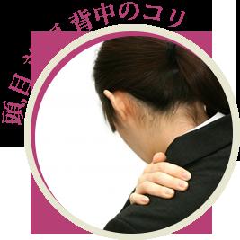 頭、目、首、肩、背中のコリ